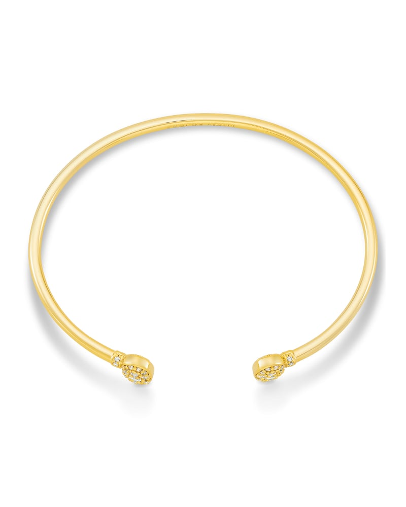 Grayson Gold Cuff Bracelet in White Crystal