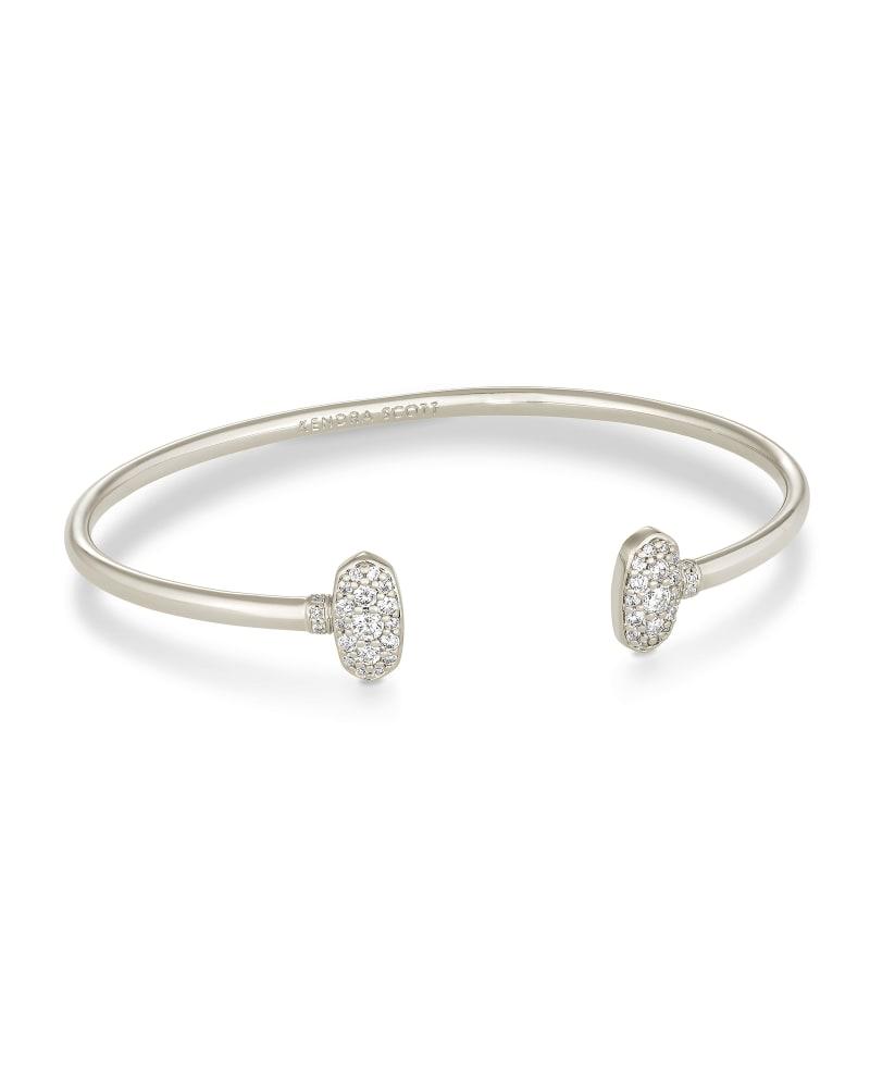 Grayson Silver Cuff Bracelet in White Crystal