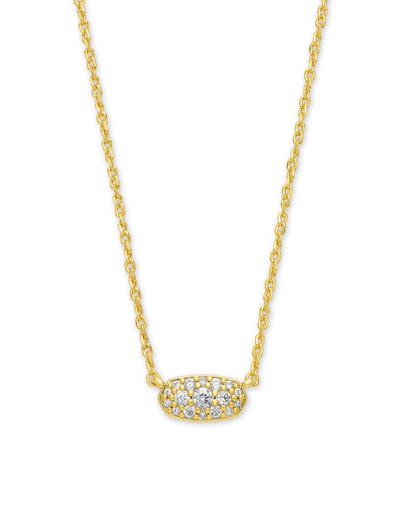 Grayson Gold Pendant Necklace in White Crystal