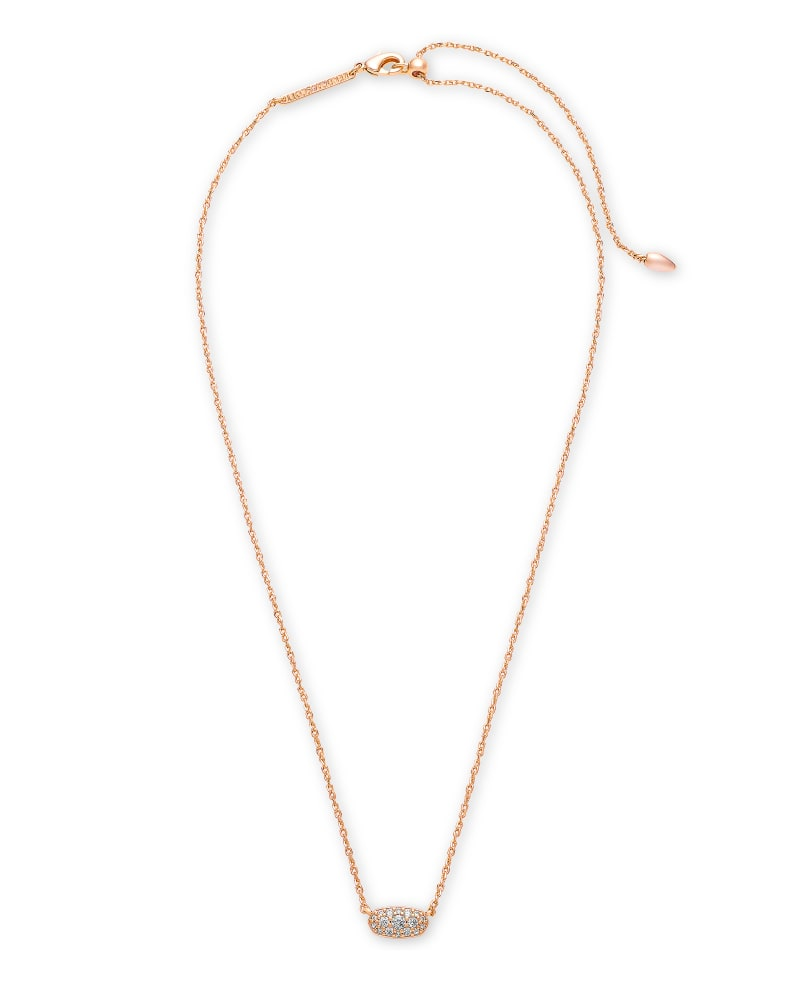 Grayson Rose Gold Pendant Necklace in White Crystal