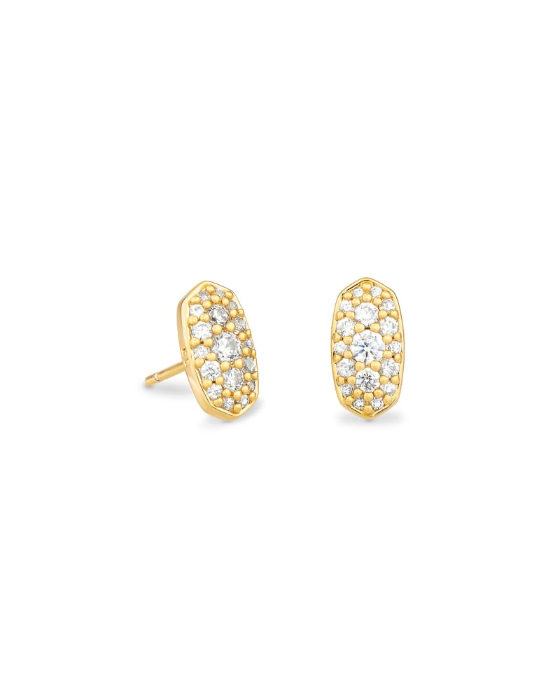 Grayson Gold Stud Earrings in White Crystal