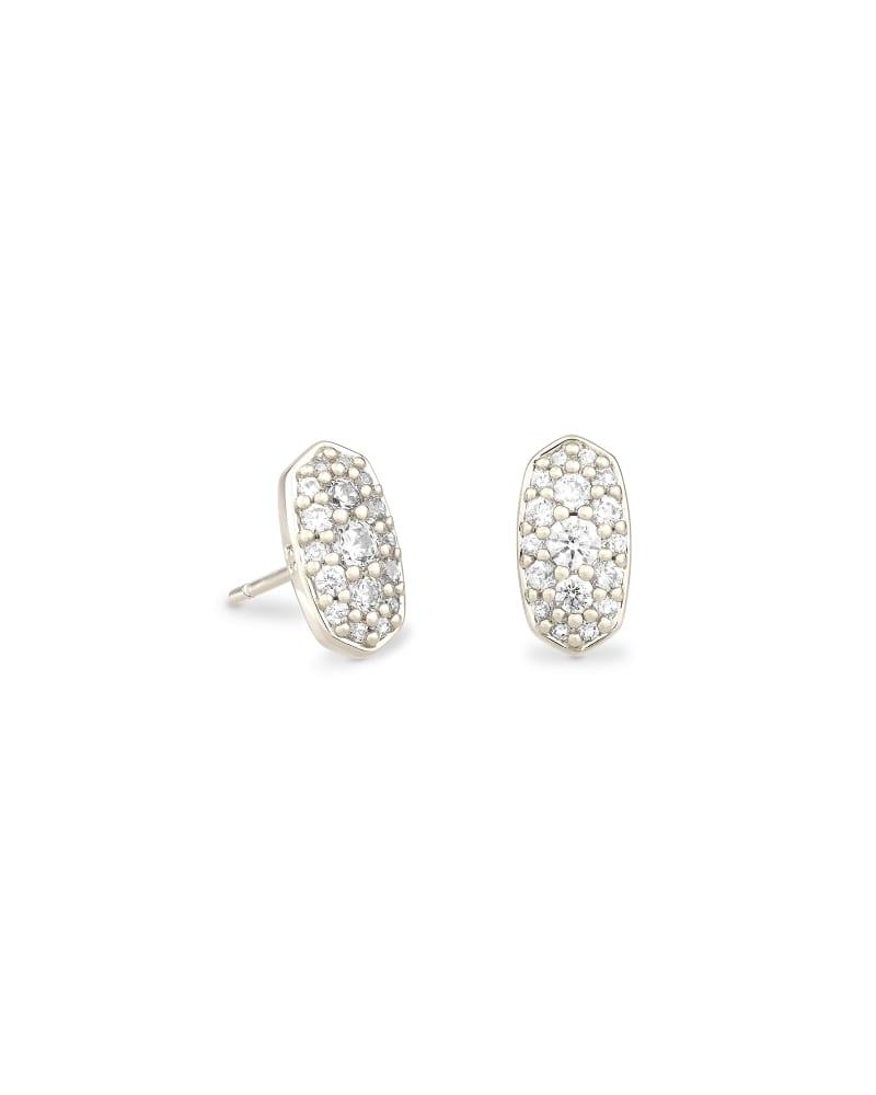 Grayson Silver Stud Earrings in White Crystal