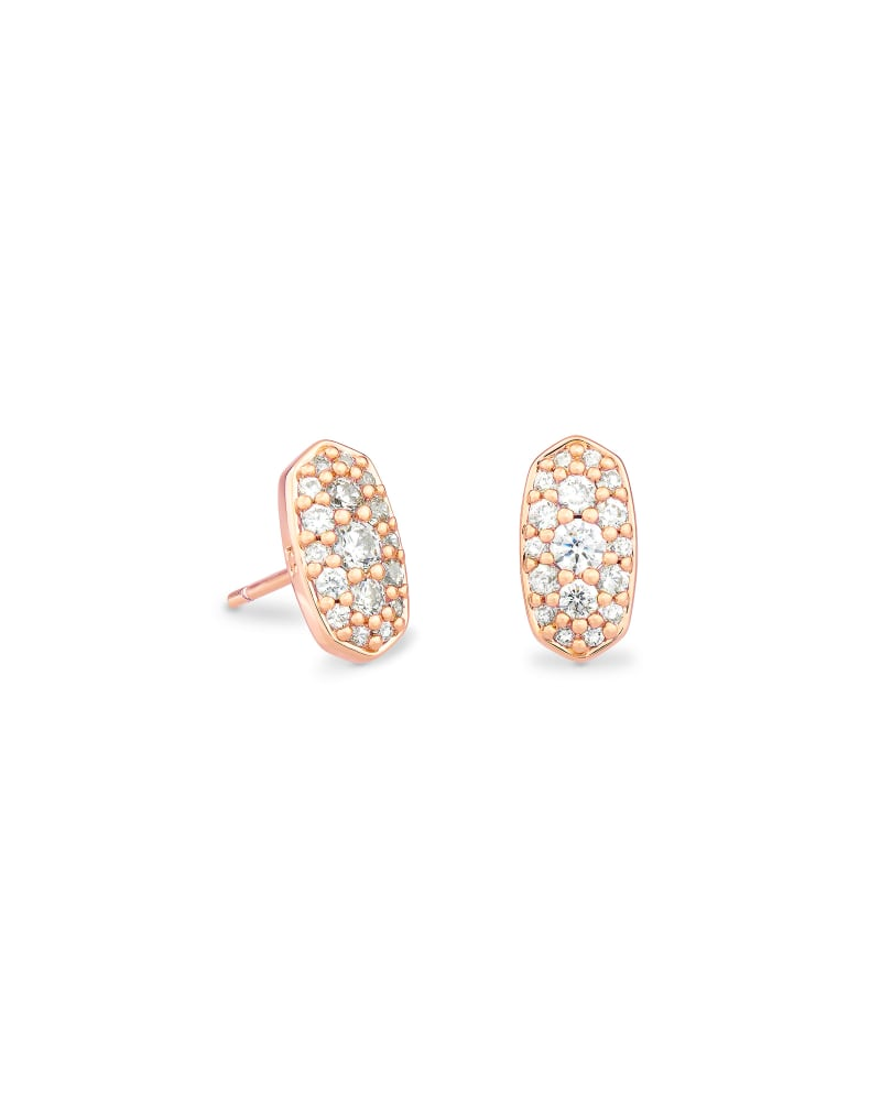 Grayson Rose Gold Stud Earrings in White Crystal
