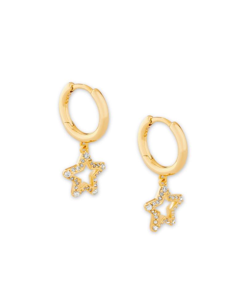 Jae Star Gold Huggie Earrings in White Crystal