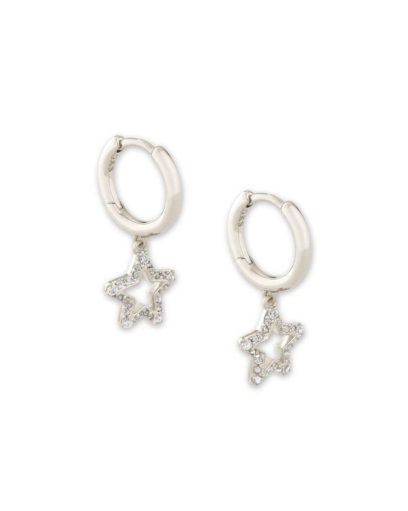 Jae Star Silver Huggie Earrings in White Crystal