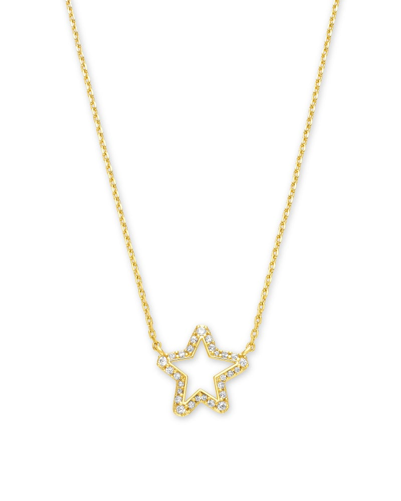 Jae Star Gold Pendant Necklace in White Crystal