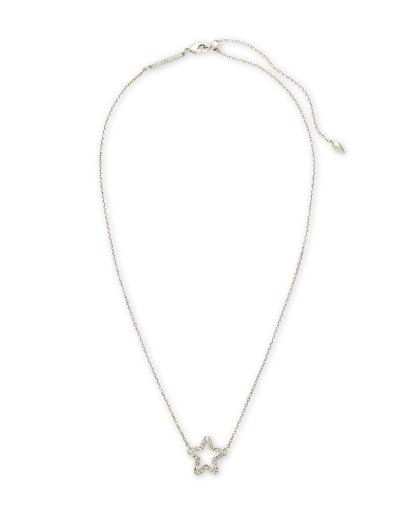 Jae Star Silver Pendant Necklace in White Crystal
