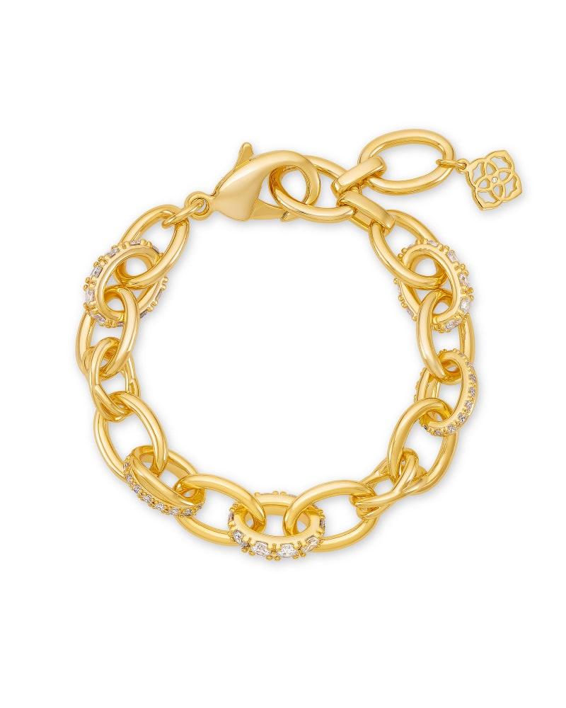 Livy Gold Chain Bracelet in White Crystal