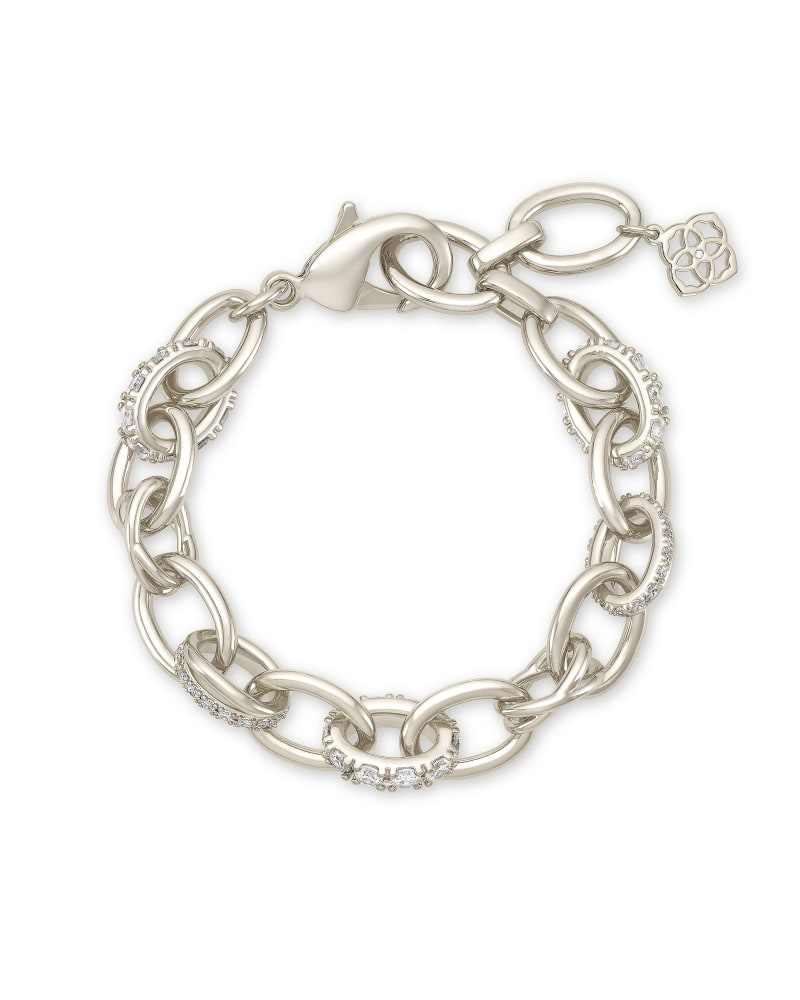 Livy Silver Chain Bracelet in White Crystal