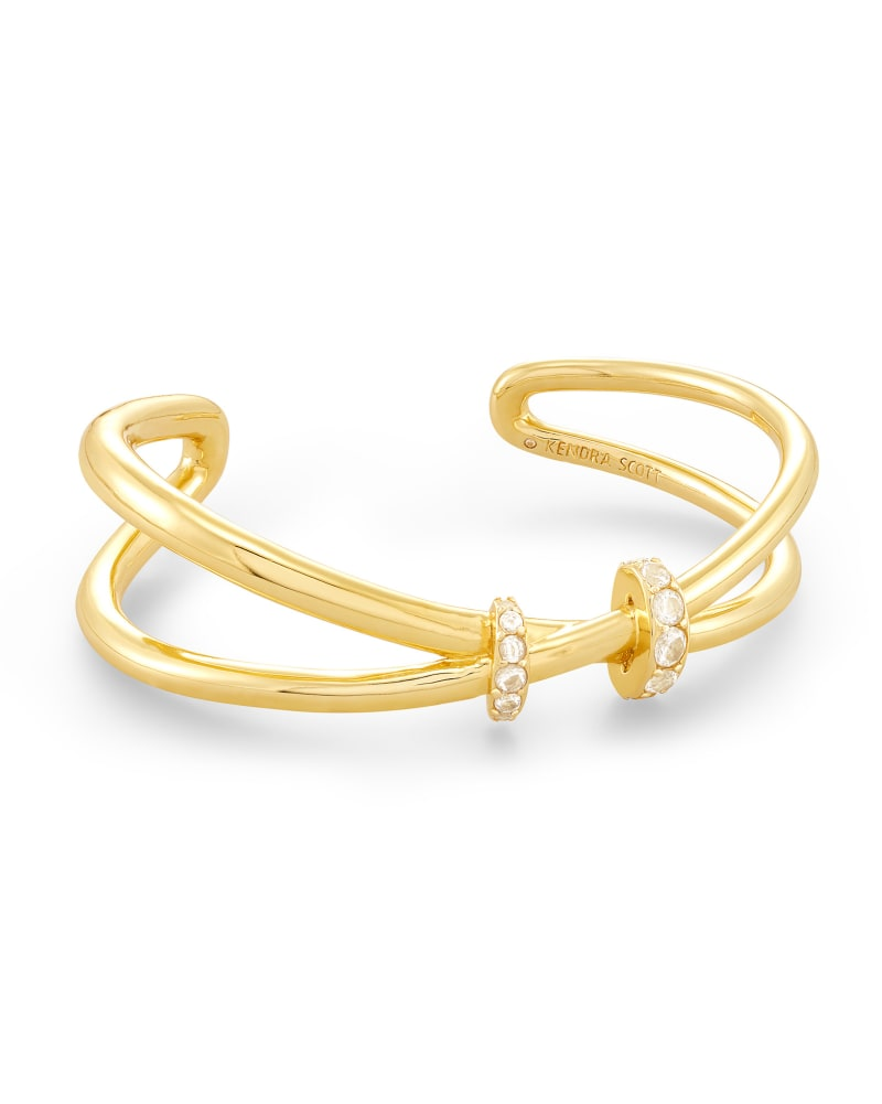 Livy Gold Cuff Bracelet in White Crystal