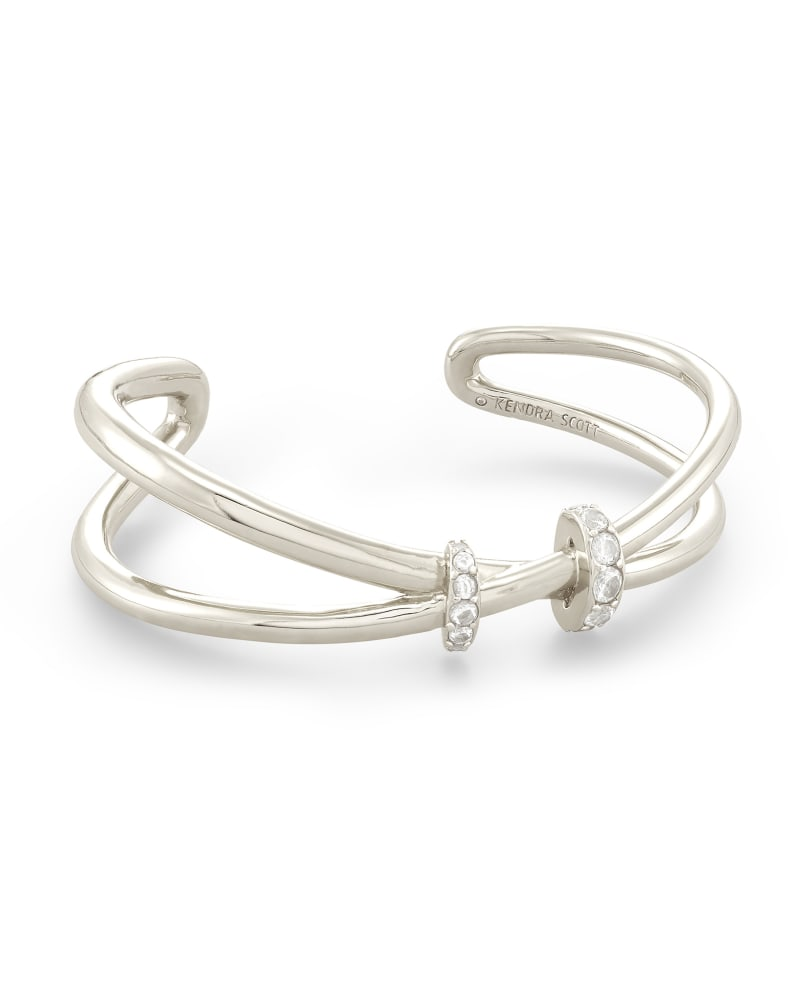 Livy Silver Cuff Bracelet in White Crystal