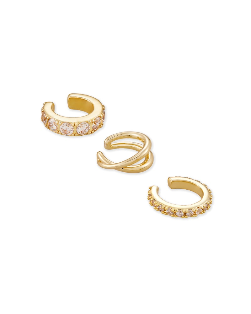 Livy Gold Ear Cuff Set of 3 in White Crystal