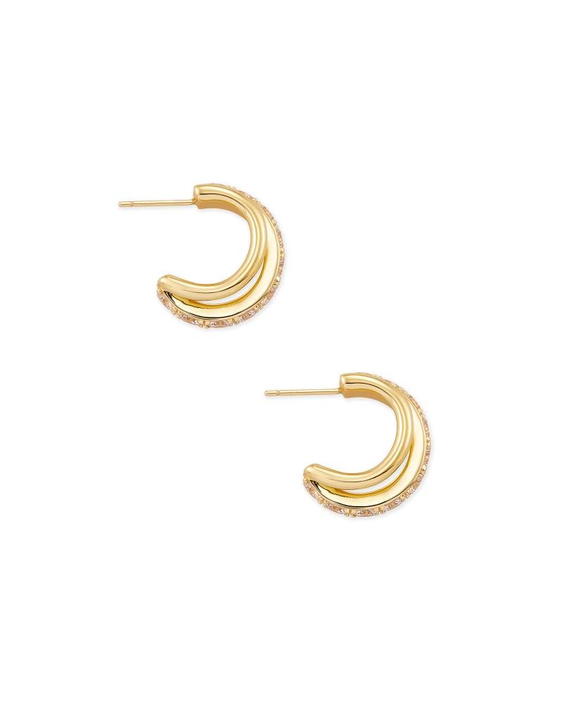 Livy Gold Huggie Earrings in White Crystal