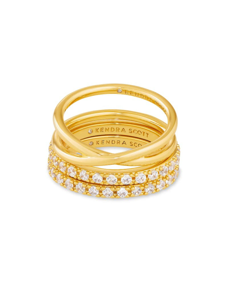 Livy Gold Ring Set of 3 in White Crystal
