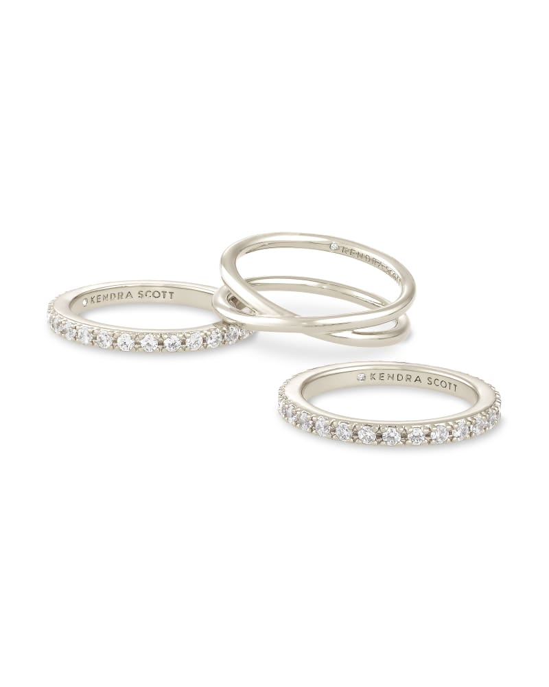 Livy Silver Ring Set of 3 in White Crystal