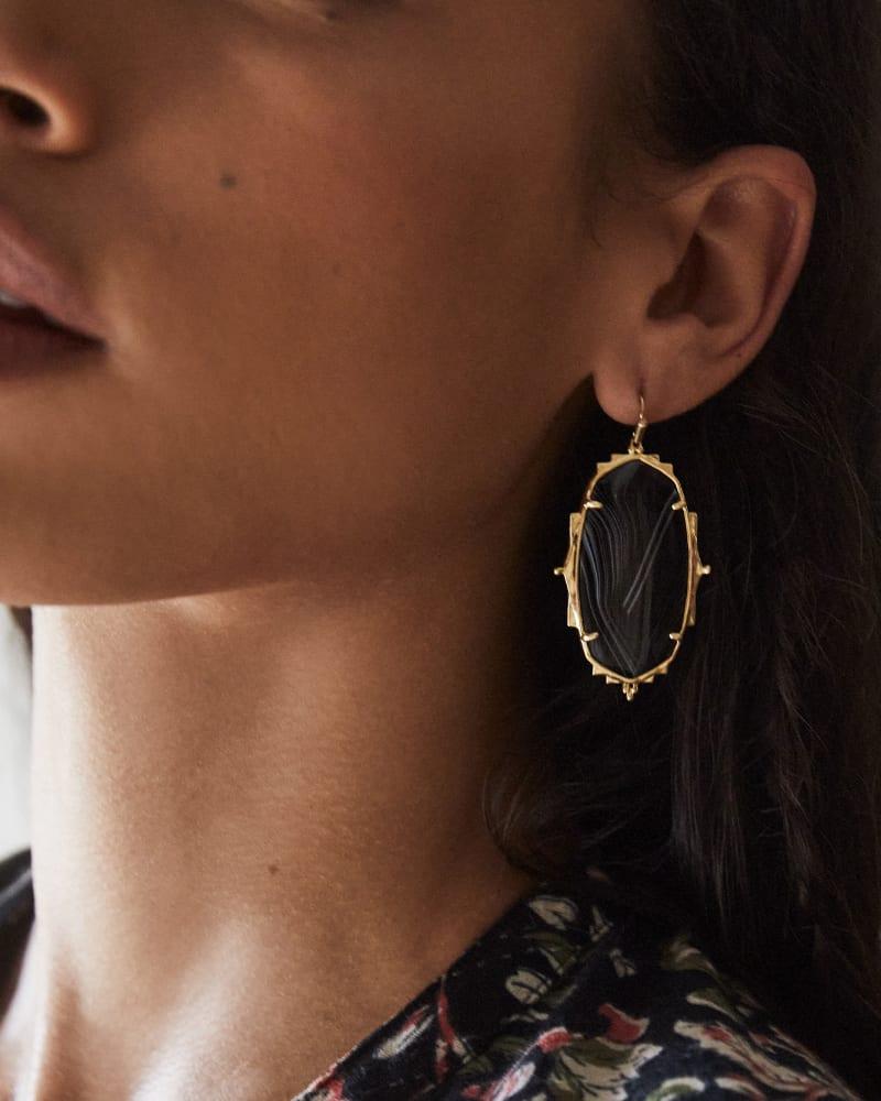 Baroque Ella Gold Drop Earrings in Black Banded Agate