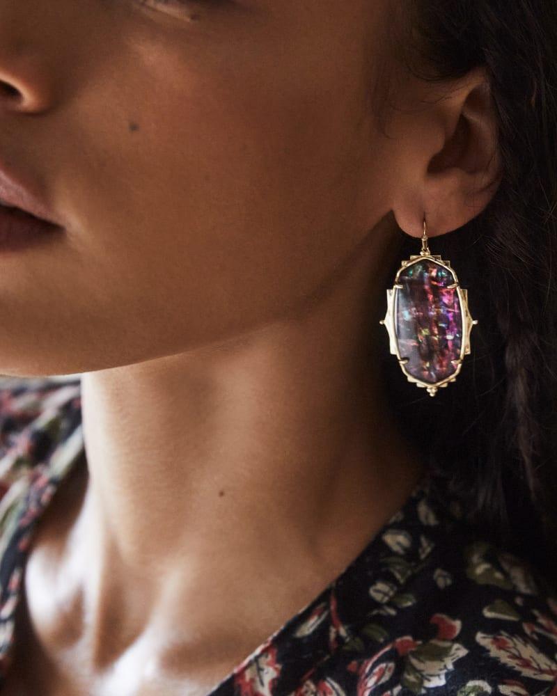 Baroque Ella Gold Drop Earrings in Mauve Abalone