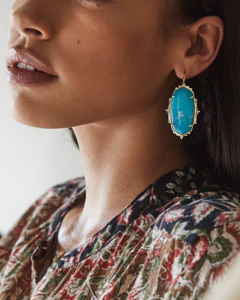 Baroque Ella Gold Drop Earrings in Teal Howlite