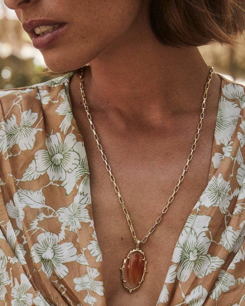 Baroque Ella Gold Long Pendant Necklace in Orange Banded Agate