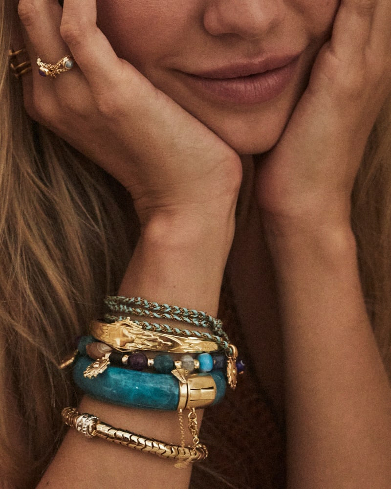 Beaded Shiva Gold Stretch Bracelet in Multi Mix
