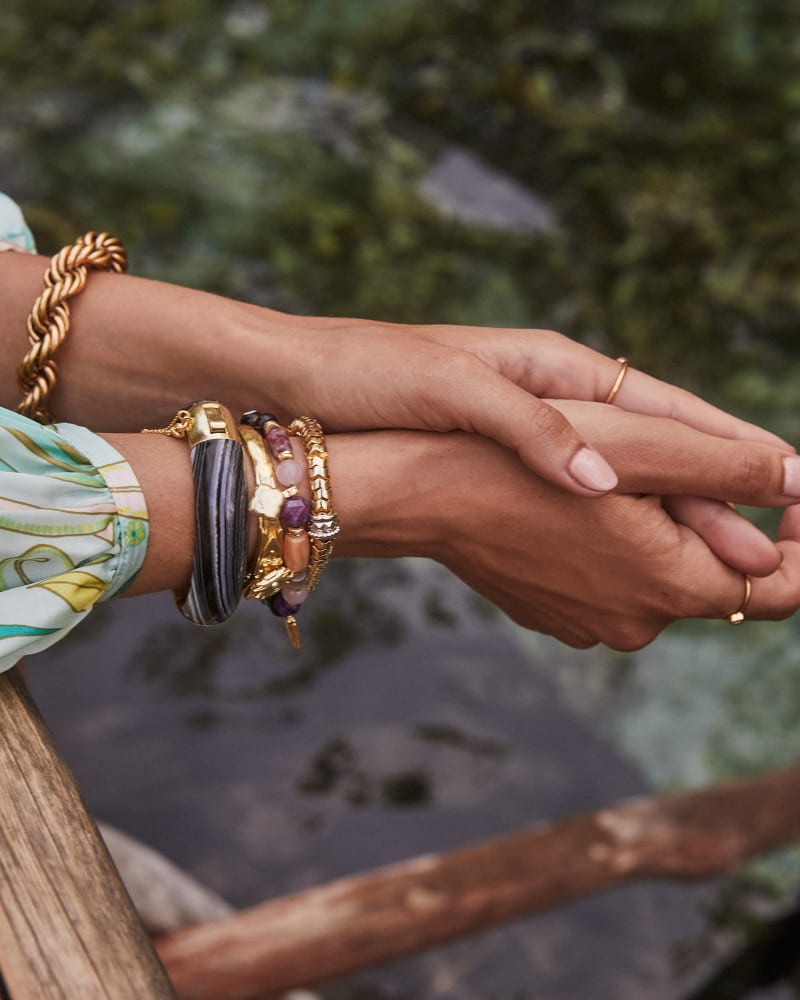 Beaded Shiva Gold Stretch Bracelet in Plum Mix