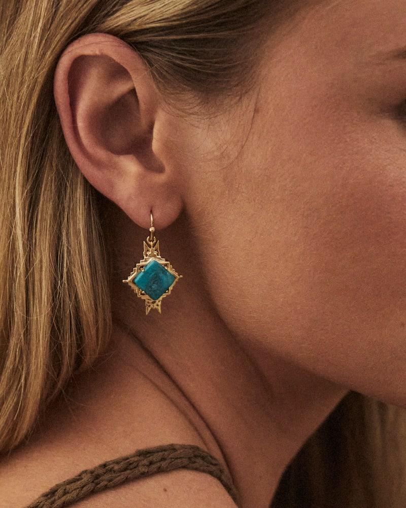 Cass Gold Drop Earrings in Teal Howlite