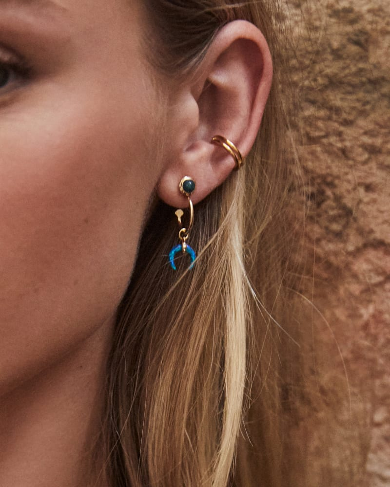 Gemma Gold Convertible Huggie Earrings Set in Teal Mix