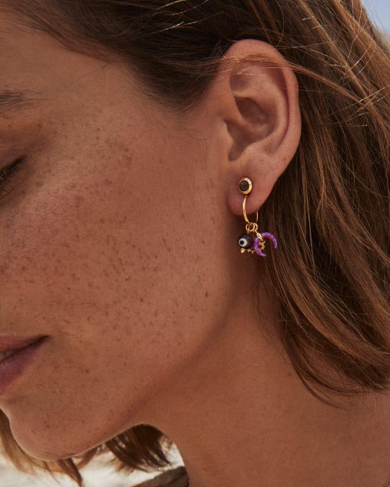 Gemma Vintage Gold Convertible Huggie Earrings Set in Plum Mix