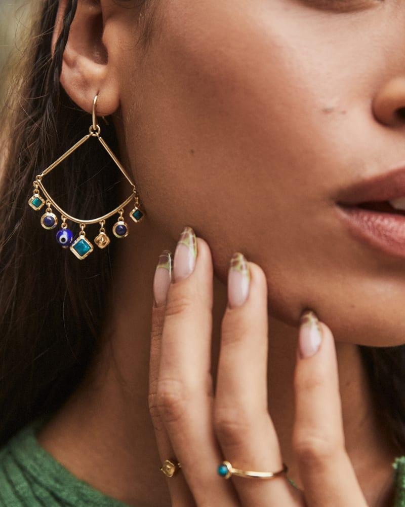 Gemma Gold Drop Earrings in Teal Mix