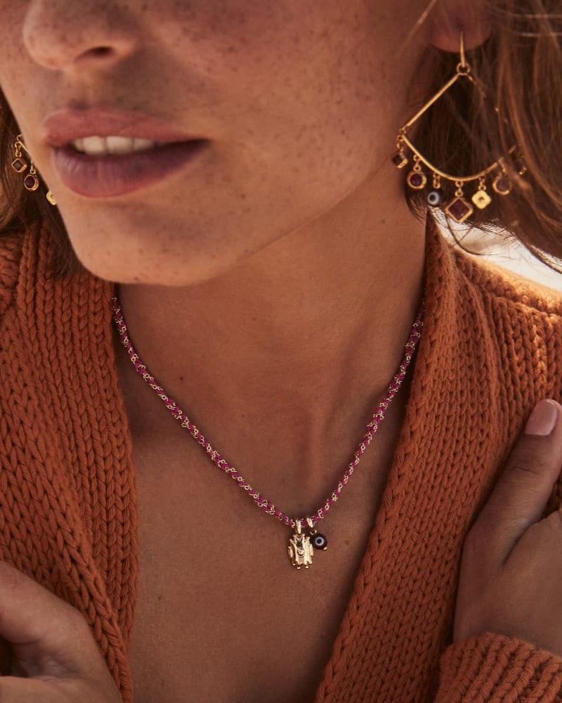 Gemma Vintage Gold Drop Earrings in Plum Mix