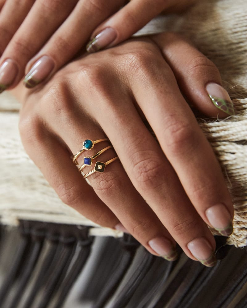 Gemma Gold Ring Set of 3 in Teal Mix