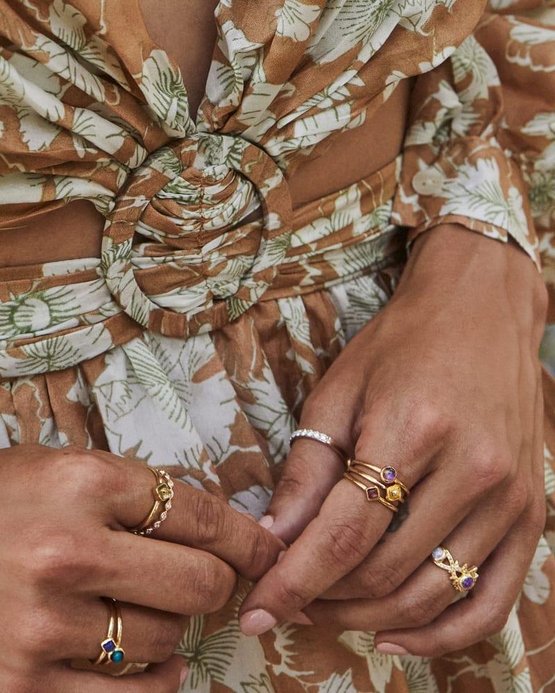 Gemma Vintage Gold Ring Set of 3 in Plum Mix