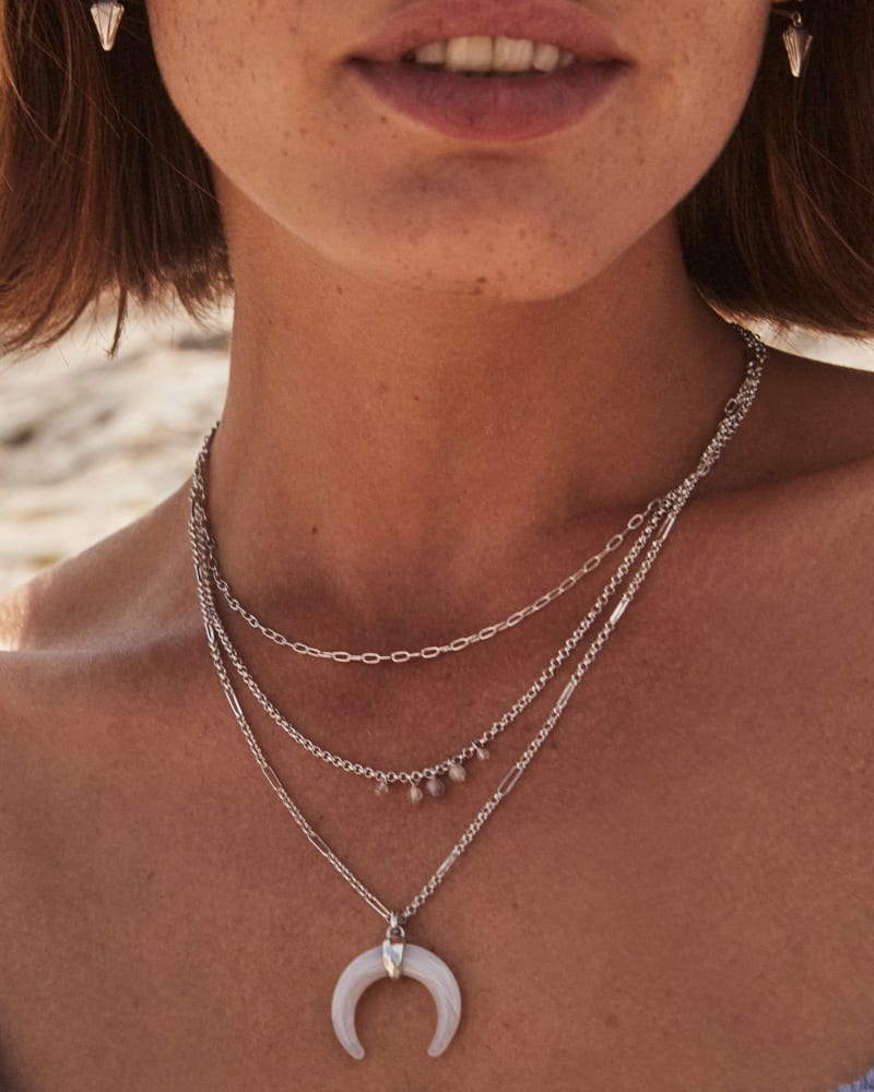 Gemma Silver Triple Strand Necklace in Gray Banded Agate
