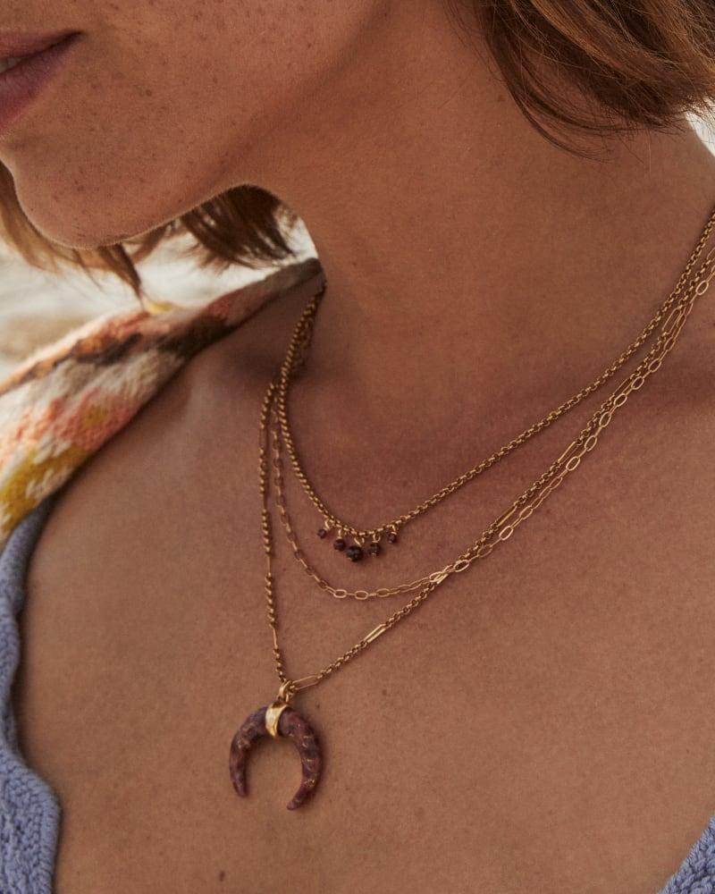Gemma Vintage Gold Triple Strand Necklace in Bronze Veined Maroon Jade