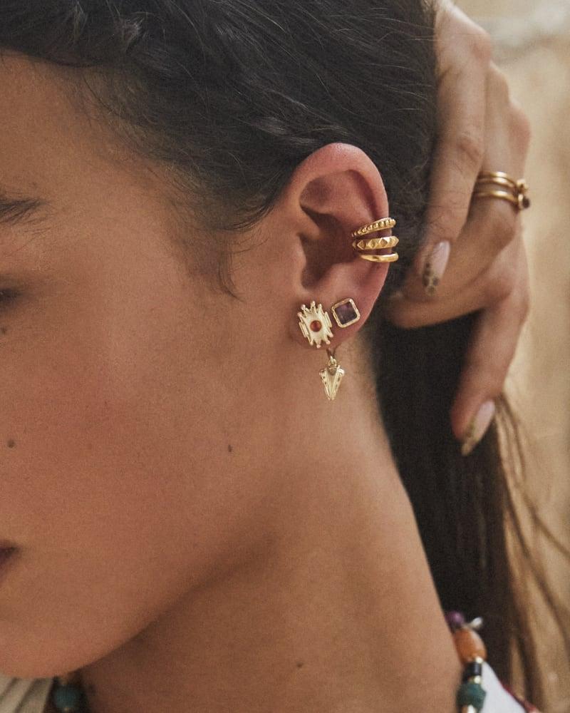 Shiva Gold Ear Jacket Earrings in Orange Banded Agate