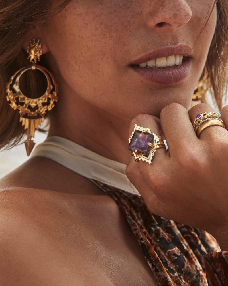 Shiva Statement Earrings in Vintage Gold