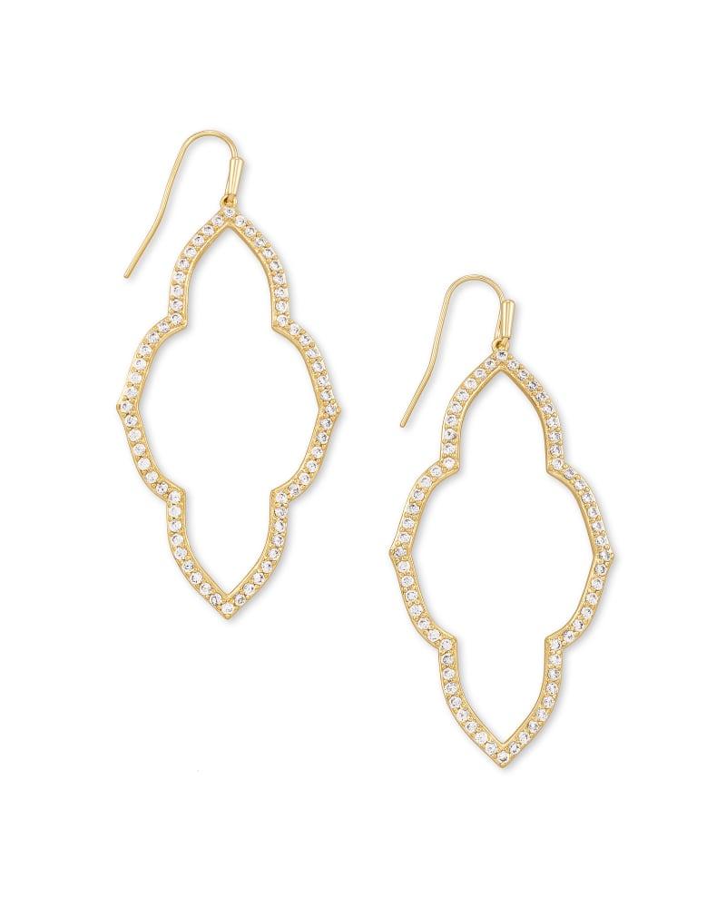 Abbie Gold Open Frame Earrings in White Crystal