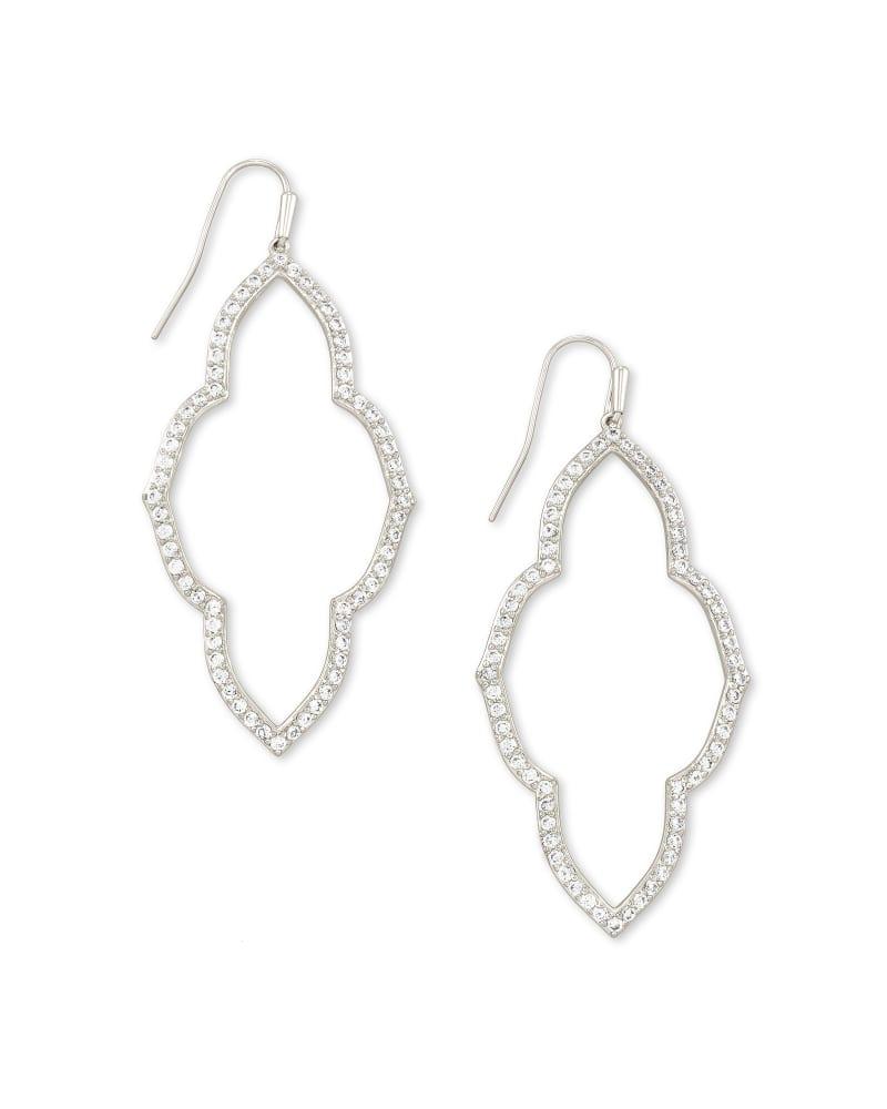 Abbie Silver Open Frame Earrings in White Crystal