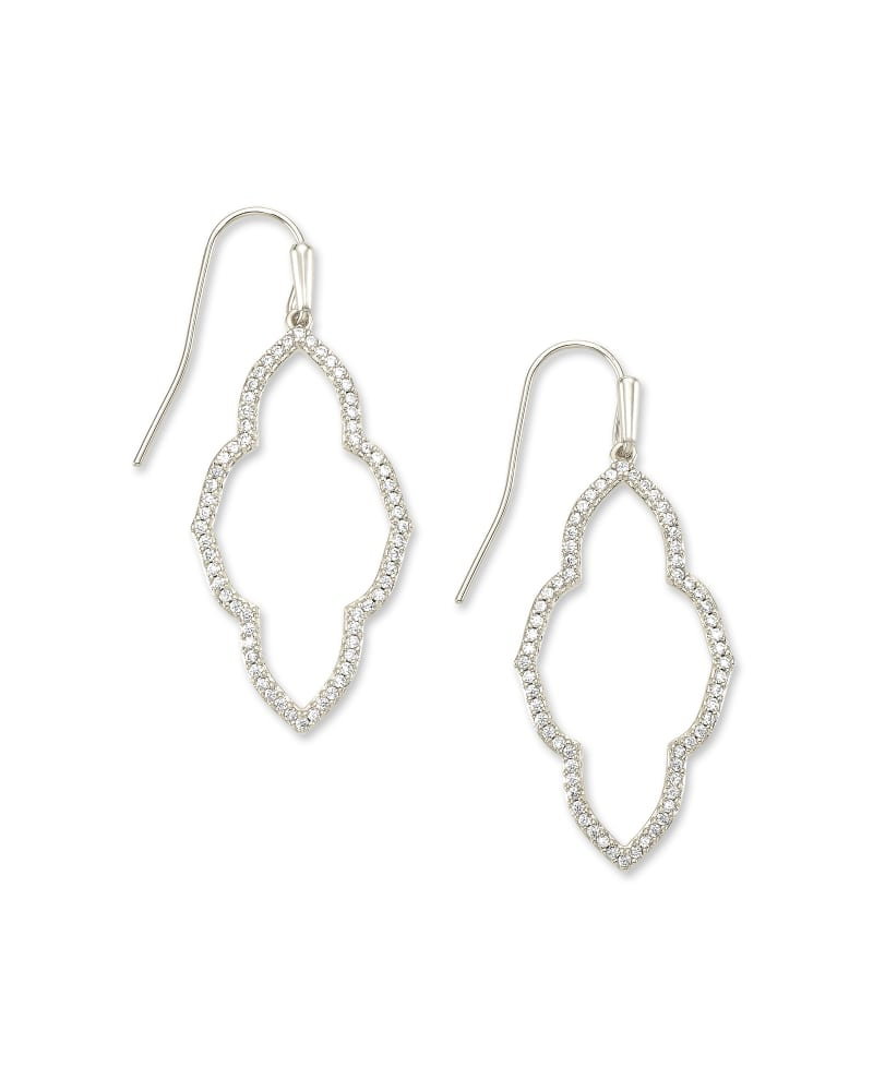 Abbie Silver Small Open Frame Earrings in White Crystal