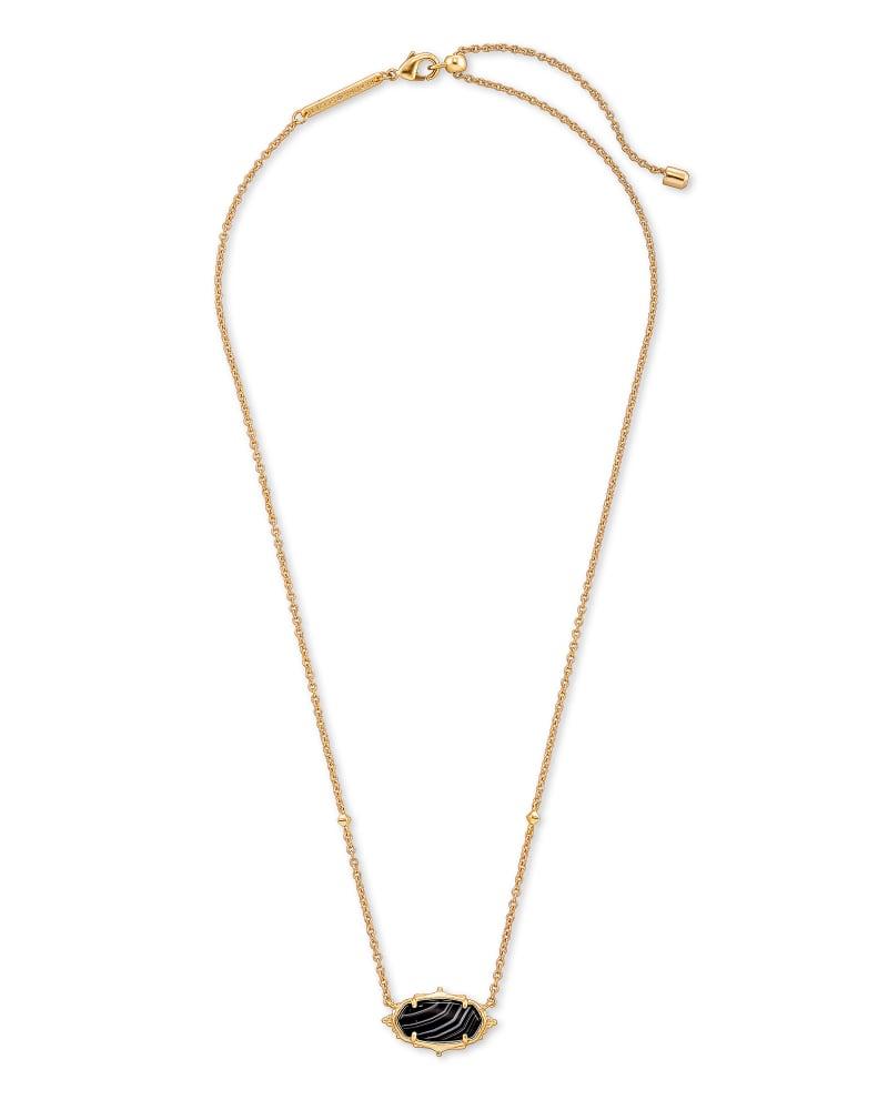 Baroque Elisa Gold Pendant Necklace in Black Banded Agate