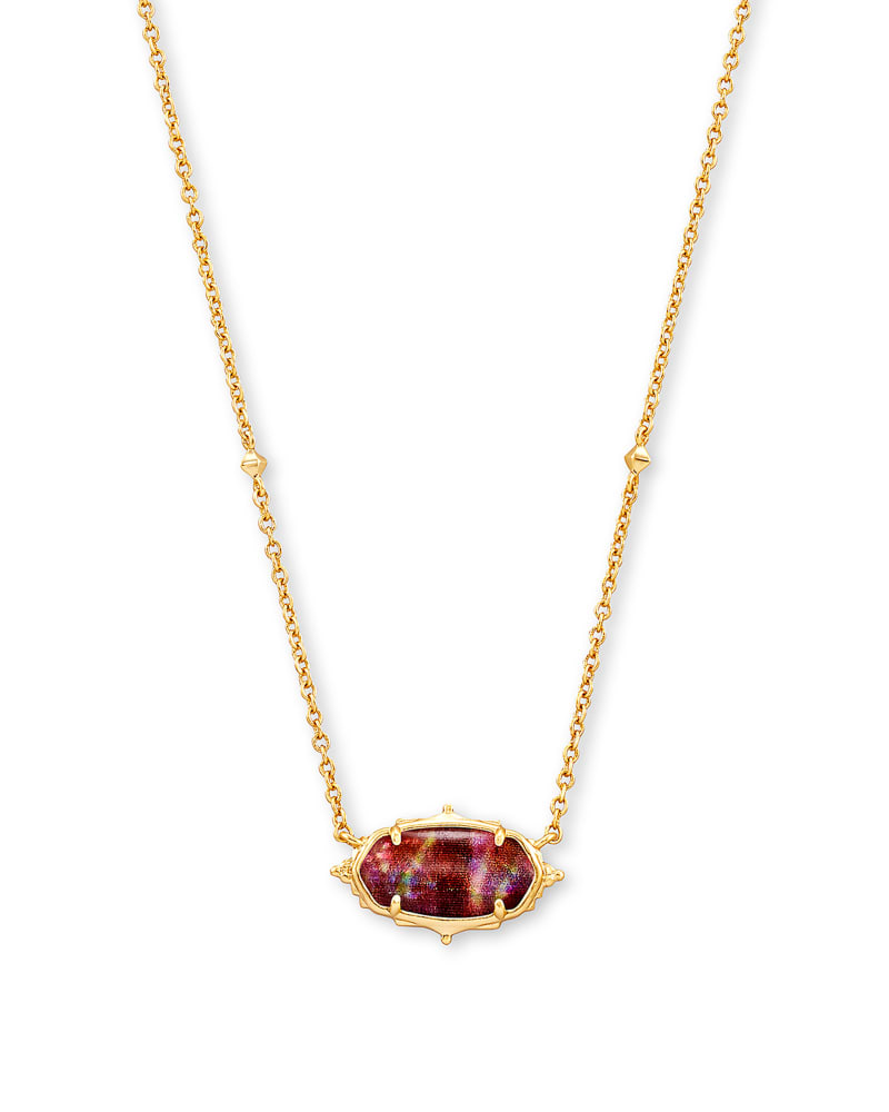 Baroque Elisa Gold Pendant Necklace in Mauve Abalone