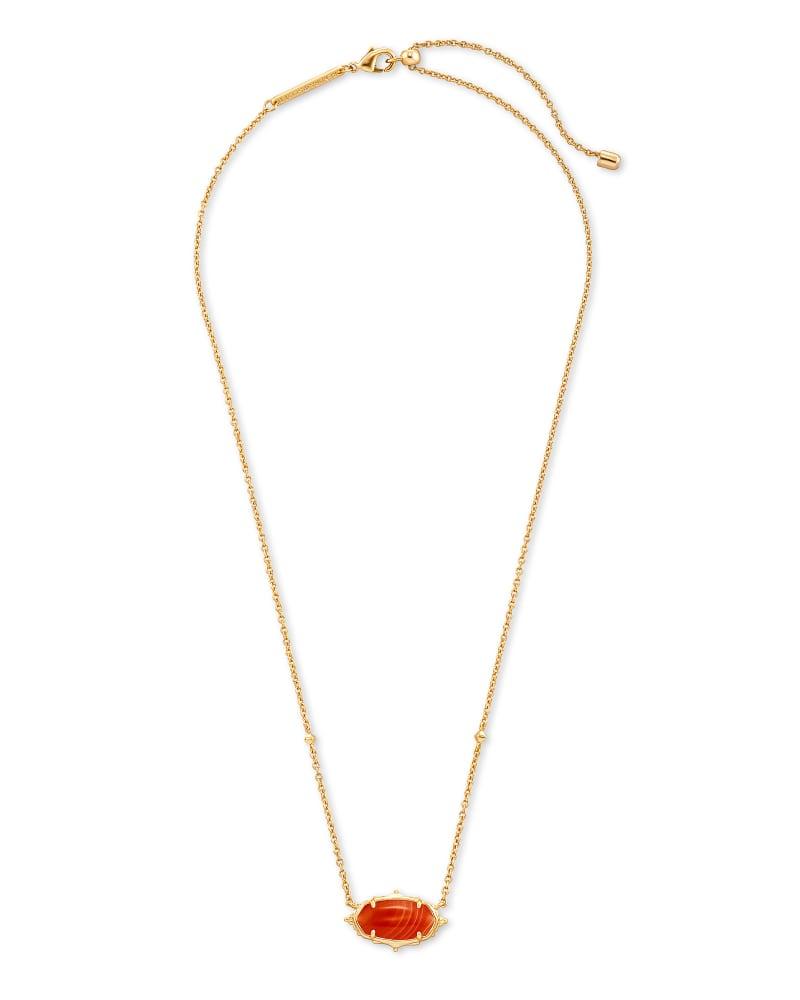 Baroque Elisa Gold Pendant Necklace in Orange Banded Agate