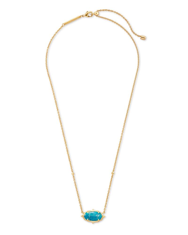 Baroque Elisa Gold Pendant Necklace in Teal Howlite