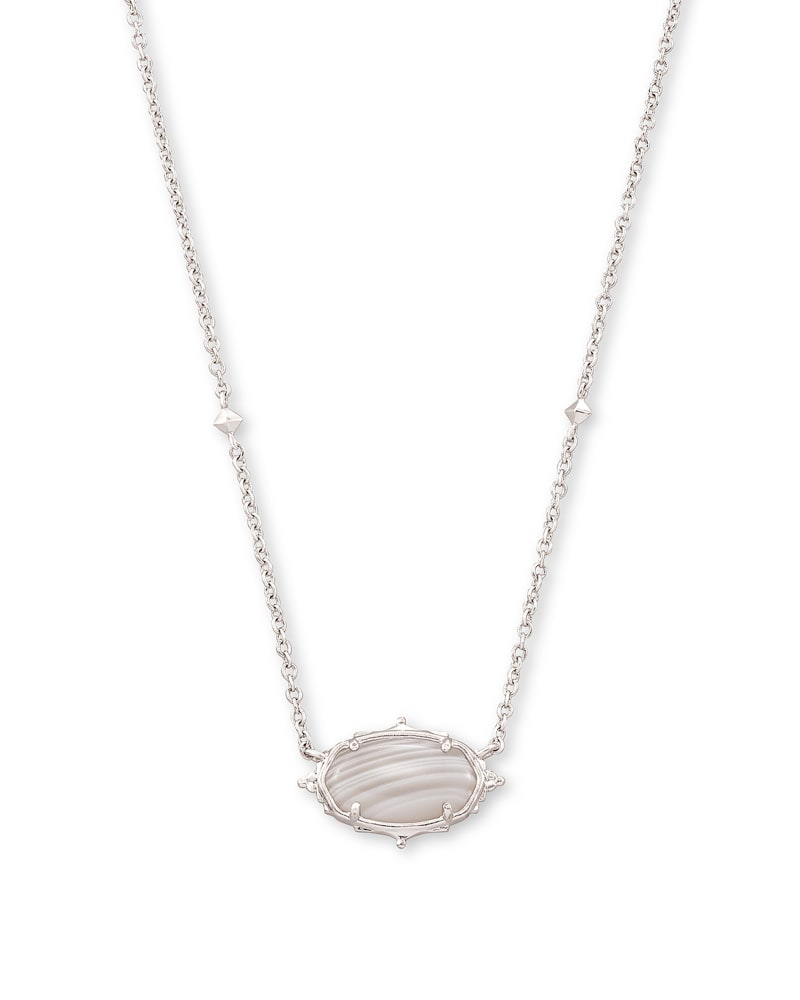 Baroque Elisa Silver Pendant Necklace in Gray Banded Agate