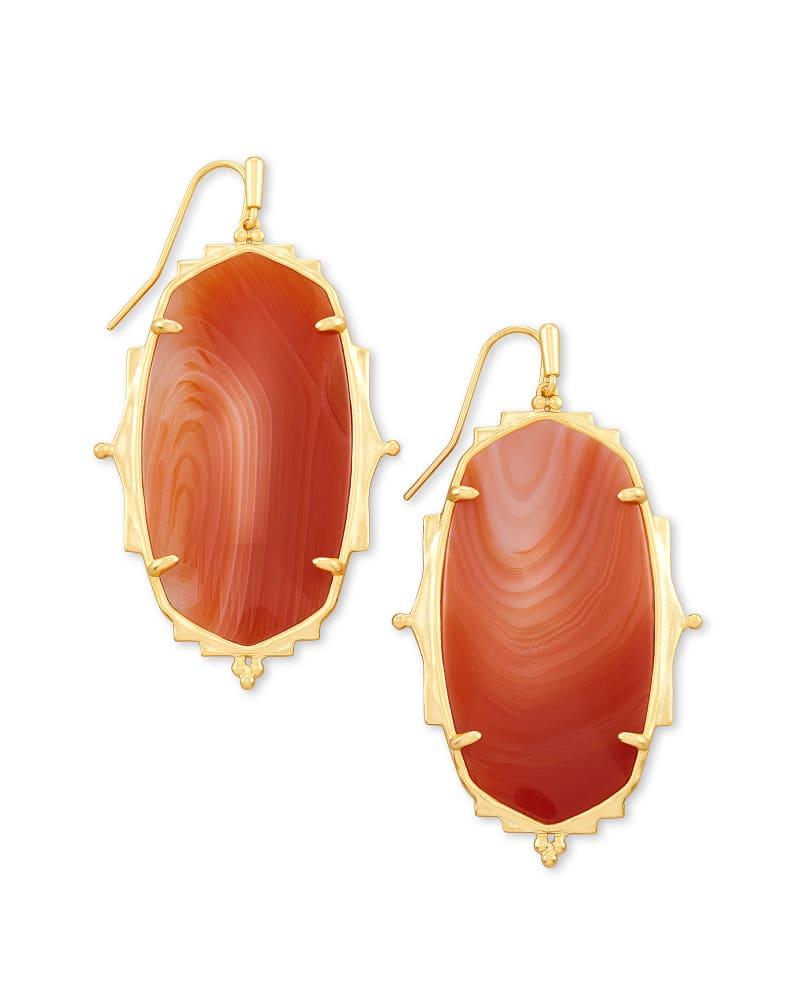 Baroque Ella Gold Drop Earrings in Orange Banded Agate