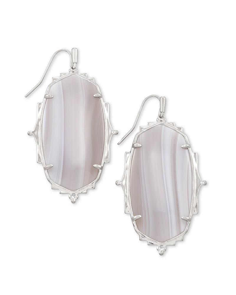 Baroque Ella Silver Drop Earrings in Gray Banded Agate