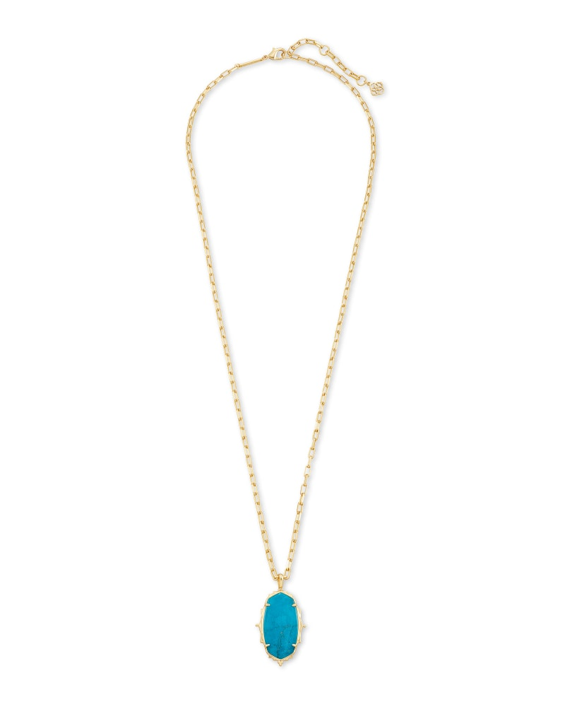 Baroque Ella Gold Long Pendant Necklace in Teal Howlite