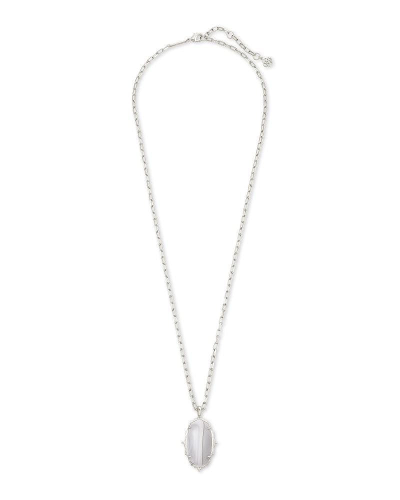 Baroque Ella Silver Long Pendant Necklace in Gray Banded Agate