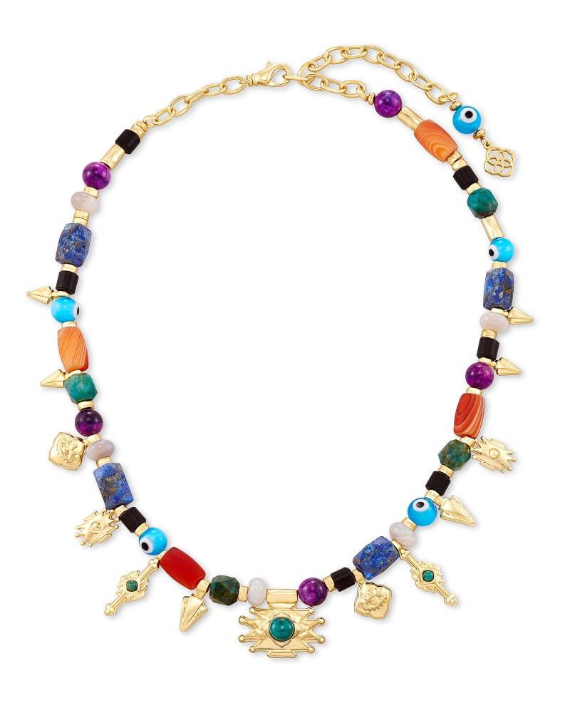 Beaded Shiva Gold Charm Necklace in Multi Mix
