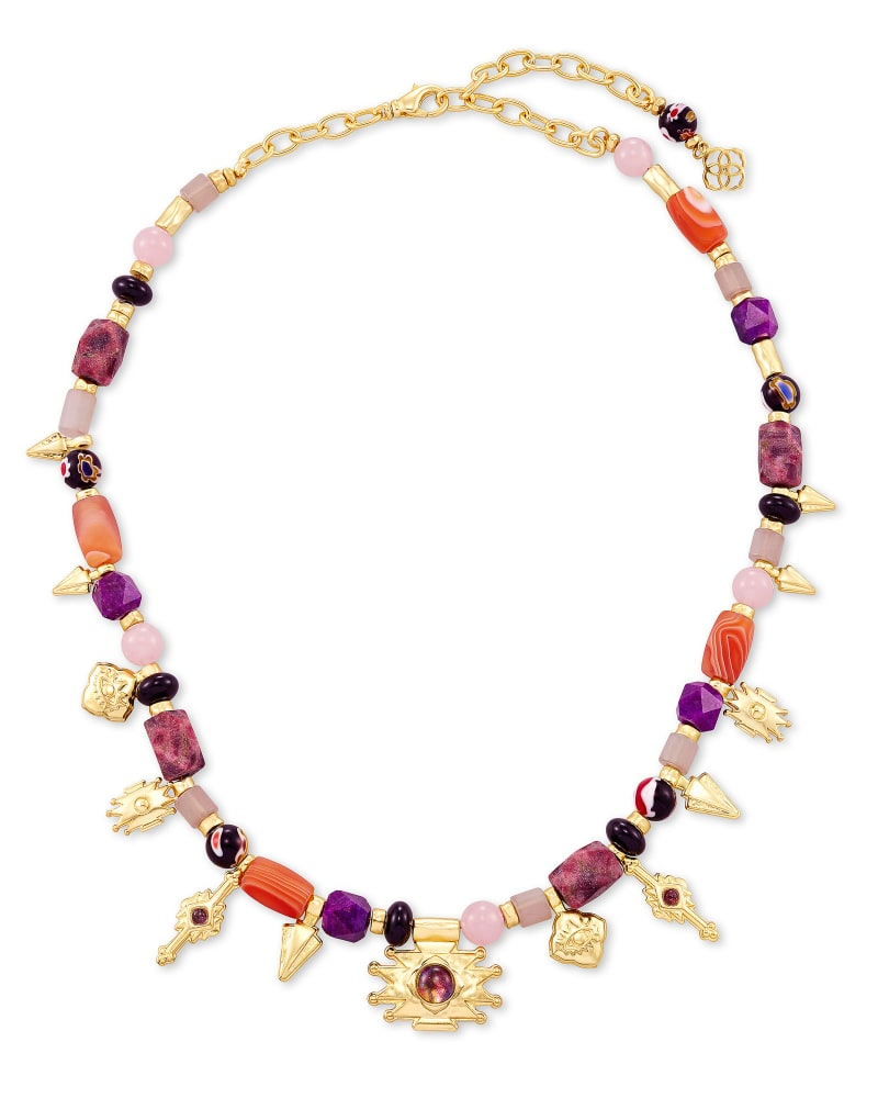 Beaded Shiva Gold Charm Necklace in Plum Mix